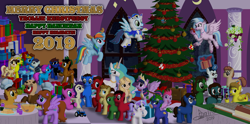 Size: 9100x4500 | Tagged: safe, artist:tidmouthmilk12, coloratura, princess celestia, rainbow dash, silverstream, soarin', twilight sparkle, oc, oc:taralicious, alicorn, pony, absurd resolution, canterlot castle, christmas, christmas tree, clothes, costume, countess coloratura, fake antlers, ghostbusters, hearth's warming, holiday, kigurumi, model train, ocs everywhere, onesie, party, pipboy, ponified, sir topham hatt, tara strong, thomas the tank engine, tractor, tree, twilight sparkle (alicorn), vector