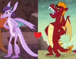 Size: 1024x805 | Tagged: safe, edit, edited screencap, editor:3d4d, screencap, garble, prominence, dragon, gauntlet of fire, dragoness, duo, female, garbinence, heart, male, shipping, shipping domino, straight