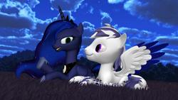 Size: 1920x1080 | Tagged: safe, artist:feuerrader-nmm, princess luna, oc, oc:crystal moon, pegasus, pony, 3d, crysuna, male, night, prone, stallion