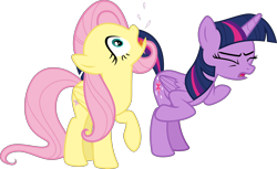 Size: 4897x3000 | Tagged: safe, artist:sollace, fluttershy, twilight sparkle, alicorn, a bird in the hoof, .svg available, behaving like a bird, bipedal, raised leg, simple background, transparent background, twilight sparkle (alicorn), vector