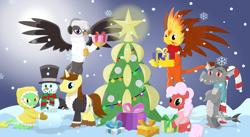 Size: 3531x1937 | Tagged: safe, artist:porygon2z, oc, oc only, oc:blaze, oc:draco axel, oc:hocus pocus, oc:jade, oc:raiza, oc:strawberry fluffcake, dragon, griffon, pony, unicorn, candy, candy cane, christmas, christmas tree, clothes, earmuffs, food, holiday, present, scarf, snow, snowman, tree, winter