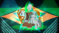 Size: 3840x2160 | Tagged: safe, artist:cheezedoodle96, artist:laszlvfx, edit, marble pie, rockhoof, earth pony, pony, a happy ending for marble pie, balancing, blushing, crack shipping, cute, duo, eye contact, female, flirting, high res, hoof over mouth, looking at each other, male, marblehoof, mare, one eye closed, rockhoof's shovel, shipping, shovel, size difference, smiling, stallion, straight, wallpaper, wallpaper edit, wink