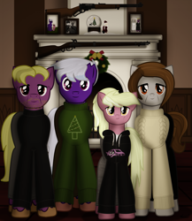 Size: 1557x1792 | Tagged: safe, artist:99999999000, oc, oc only, oc:firearm king, oc:holly stone, oc:susie cotes, oc:wilson cotes, earth pony, pony, brother and sister, christmas, clothes, family photo, father, female, fireplace, gun, holiday, lever action rifle, male, mother, photo frame, rifle, siblings, sweater, weapon