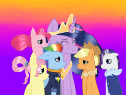Size: 4160x3120 | Tagged: safe, artist:lightningbolt39, applejack, fluttershy, pinkie pie, rainbow dash, rarity, twilight sparkle, alicorn, earth pony, pegasus, pony, unicorn, the last problem, spoiler:s09e26, alternate hairstyle, applejack's hat, clothes, coat, cowboy hat, crown, end of ponies, eyes closed, female, freckles, gradient background, hat, jewelry, mane six, mare, older, older applejack, older fluttershy, older mane 6, older pinkie pie, older rainbow dash, older rarity, older twilight, princess twilight 2.0, regalia, shirt, twilight sparkle (alicorn)