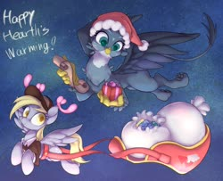 Size: 2633x2137 | Tagged: safe, artist:noupu, derpy hooves, gabby, griffon, pegasus, pony, christmas, duo, female, flying, hat, hearth's warming, holiday, mailmare, mare, present, quadrupedal, santa hat, scroll