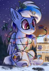 Size: 900x1300 | Tagged: safe, artist:ravistdash, derpibooru exclusive, oc, oc only, oc:cyanine willow, oc:moontrace, oc:ravist, oc:skywalk shade, oc:starspot, bat pony, changeling, earth pony, pegasus, pony, unicorn, bat pony oc, bondage, changeling oc, christmas, christmas lights, christmas tree, cute, destruction, holiday, hoofprints, macro, sitting, snow, tree, underhoof