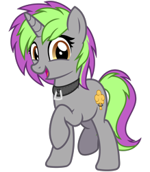 Size: 2800x3200 | Tagged: safe, artist:cheezedoodle96, oc, oc:frenzy nuke, pony, unicorn, 2020 community collab, derpibooru community collaboration, .svg available, collar, female, looking at you, mare, raised hoof, simple background, smiling, solo, svg, transparent background, vector