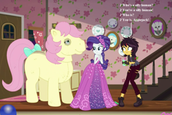 Size: 1053x702 | Tagged: safe, edit, edited screencap, screencap, applejack, fluttershy, posey, rarity, sunset shimmer, wooyoo, costume conundrum, costume conundrum: applejack, equestria girls, equestria girls series, g1, spoiler:eqg series (season 2), bow, bulk biceps' home, cropped, fake fangs, g1 to g4, generation leap, horse costume, photo, quadsuit, ripped pants, seven songs and a story, silly, silly pony, song reference, tail bow, vampire shimmer, who's a silly pony