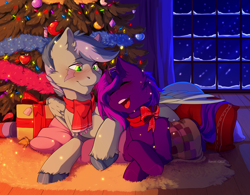 Size: 3145x2457 | Tagged: safe, artist:hakkids2, oc, oc only, oc:tihan, oc:zuthal, monster pony, original species, tatzlpony, unicorn, blushing, bow, christmas, christmas lights, christmas presents, christmas tree, clothes, cuddling, happy, holiday, lying down, night, oc x oc, open mouth, scarf, shipping, snow, tinsel, tree, unshorn fetlocks, zuhan