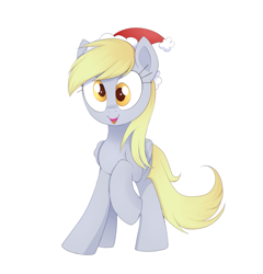 Size: 1663x1735   Tagged: safe, artist:ravensunart, derpy hooves, pegasus, pony, christmas, female, hat, holiday, mare, santa hat, simple background, solo, wall eyed, white background