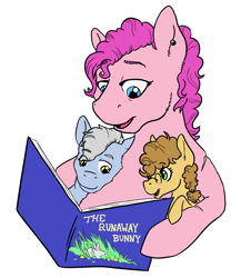 Size: 1446x1669 | Tagged: safe, artist:phobicalbino, pinkie pie, oc, oc:granite harrison rock, oc:panini patricia pie, earth pony, pony, book, colt, female, filly, foal, half-siblings, male, mare, mother and child, offspring, parent:cheese sandwich, parent:pinkie pie, parent:pokey pierce, parents:cheesepie, parents:pokeypie, reading, simple background, the runaway bunny, white background