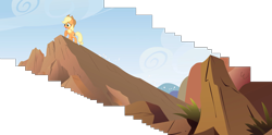 Size: 7518x3733 | Tagged: safe, composite screencap, edit, edited screencap, screencap, applejack, earth pony, pony, fall weather friends, cliff, female, mare, panorama, raised hoof, rock, solo