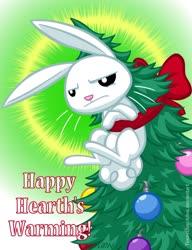 Size: 720x937 | Tagged: safe, artist:texasuberalles, angel bunny, rabbit, animal, christmas, christmas tree, hearth's warming, hearth's warming tree, holiday, male, ornament, pun, ribbon, solo, tree, visual pun
