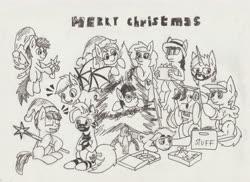 Size: 7014x5100 | Tagged: safe, artist:khaki-cap, oc, oc only, oc:guttatus, oc:khaki-cap, oc:rainbow tashie, oc:rigby, oc:steven, oc:wit ray, oc:zjin, oc:zjin-wolfwalker, christmas, christmas tree, gift art, hearth's warming eve, holiday, ink, ink sketch, merry christmas, traditional art, tree