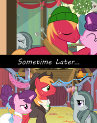 Size: 1280x1616 | Tagged: safe, big macintosh, marble pie, sugar belle, pony, best gift ever, the big mac question, spoiler:s09e23, acceptance, approval, barn, best wishes, better as friends, bittersweet, christmas, clothes, congratulations, dress, female, friends, friendship, friendshipping, good end, hat, headcanon, heartbreak, heartbroken marble, hearth's warming, heartwarming, holiday, hope, husband and wife, i want my beloved to be happy, i wish you love, just friends, lyrics in the description, male, married, married couple, moving on, party, ship sinking, shipping, shirt, sometime later..., song reference, straight, sugarmac, suit, thanks, vest, wedding dress, youtube link, youtube link in the description