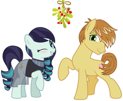 Size: 2085x1725   Tagged: safe, coloratura, feather bangs, christmas, colorabangs, female, hearth's warming, holiday, male, mistleholly, romantic, shipping, shipping fuel, smiling, straight