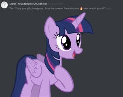 Size: 1471x1159 | Tagged: safe, twilight sparkle, alicorn, comments, discord (program), hearth's warming eve, hearthswarming, meme, merry christmas, screenshots, solo, twilight sparkle (alicorn)