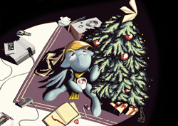 Size: 3496x2480 | Tagged: safe, artist:madgehog, rainbow dash, pegasus, pony, alone, battletoads, cartridge, chocolate, christmas, christmas star, christmas tree, clothes, colored, dressup, female, food, holiday, hot chocolate, looking up, mare, messy, nintendo, nintendo entertainment system, nintendo entertainment system controller, sad, scarf, shadow, sketchbook, speaker, tree, video game, wings