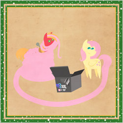 Size: 2000x2000 | Tagged: safe, anonymous artist, big macintosh, fluttershy, pony, series:12 days of hearth's warming, series:fm holidays, 12 days of christmas, border, box, butt, christmas, female, fluttermac, hearth's warming, holiday, impossibly long tail, looking at you, looking back, male, plot, pointy ponies, shipping, snow, straight, tail extensions, texture