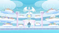 Size: 2880x1620 | Tagged: safe, screencap, cloud kicker, derpy hooves, dizzy twister, endless clouds, high spirits, lightning bolt, lyra heartstrings, merry may, orange swirl, parasol, rainbowshine, rosewing, sassaflash, spring melody, sprinkle medley, white lightning, wing wishes, pegasus, pony, unicorn, sonic rainboom (episode), audience, background pony, background pony audience, cheering, cloud, cloudiseum, female, mare, multeity, stadium, statue