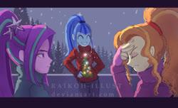 Size: 1100x669 | Tagged: safe, artist:raikoh, adagio dazzle, aria blaze, sonata dusk, equestria girls, christmas, christmas sweater, clothes, cute, female, holiday, snow, snowfall, sonatabetes, sweater, the dazzlings