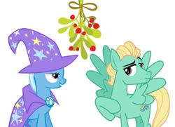Size: 1042x756 | Tagged: safe, edit, trixie, zephyr breeze, christmas, female, holiday, male, mistleholly, shipping, straight, trixbreeze