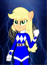 Size: 516x714 | Tagged: safe, artist:cam-and-sister-paint, applejack, equestria girls, blue ranger, kyoryu sentai zyuranger, mighty morphin power rangers, ponied up, solo