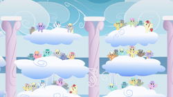 Size: 2880x1620 | Tagged: safe, screencap, cloud kicker, cool star, derpy hooves, dizzy twister, lightning bolt, merry may, orange swirl, parasol, rainbowshine, sassaflash, spring melody, sprinkle medley, starburst (character), sunshower raindrops, white lightning, wing wishes, pegasus, pony, sonic rainboom (episode), audience, background pony, background pony audience, cloud, cloudiseum, cream tangerine, female, looking up, male, mare, multeity, sitting, spread wings, stallion, stands, wings