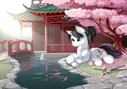 Size: 5000x3500   Tagged: safe, artist:dreamweaverpony, oc, oc only, oc:shiro reisu, fish, goldfish, pony, unicorn, absurd resolution, beautiful, black mane, bridge, cherry blossoms, clothes, commission, cute, detailed background, flower, flower blossom, fluffy, fusuma, japanese, katana, kimono (clothing), pond, samurai, scenery, solo, sword, weapon