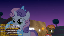 Size: 1026x577 | Tagged: safe, artist:jan, edit, button mash, sweetie belle, don't mine at night, cute, diamond pickaxe, diasweetes, g1, g1 to g4, generation leap, haiku, house, implied apple bloom, implied kettle corn, implied ruby pinch, implied silver spoon, implied snips, implied sweet stuff, jewelry, minecraft, peytral, pickaxe, text, tiara, torch, tree
