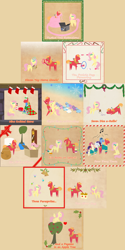 Size: 3000x6000 | Tagged: safe, anonymous artist, big macintosh, fluttershy, rarity, smarty pants, toe-tapper, torch song, parasprite, pony, prairie dog, sheep, series:12 days of hearth's warming, series:fm holidays, 12 days of christmas, :t, ><, ^^, apple, apple tree, bag, basket, bell, big eyes, big macintosh is not amused, bipedal, blanket, blush sticker, blushing, book, border, box, butt, butt in the air, candy, candy cane, cardboard box, christmas, christmas lights, christmas stocking, christmas wreath, cider, clothes, dexterous hooves, dice, eyes closed, fake horn, female, fireplace, floating, floating heart, flutterbutt, fluttermac, food, garland, glowing horn, grandfather clock, grin, happy, hat, heart, hearth's warming, hiding, holiday, holly, hoof hold, hoop, horn, impossibly long tail, jug, knitting, knitting needles, laughing, laundry basket, lidded eyes, looking at each other, looking at you, looking away, looking back, looking down, looking up, male, mistletoe, mittens, music notes, nervous, nervous grin, open mouth, outstretched arms, plot, pointy ponies, ponytones outfit, prancing, pushing, ribbon, santa hat, scarf, shipping, singing, sitting, smiling, snickering, snow, snowflake, socks, spruce, straight, sweat, sweatdrop, sweater, table, table cloth, tail extensions, texture, the flying prairinos, tiny ewes, toaster, toaster cozy, tree, wreath