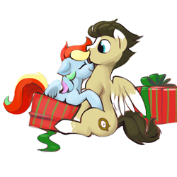 Size: 2000x2000 | Tagged: safe, artist:dimfann, rainbow dash, oc, oc:skittle, pegasus, pony, canon x oc, cute, dashabetes, female, gift box, hug, male, mare, present, shipping, simple background, skidash, stallion, straight, white background