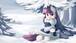 Size: 5600x3150   Tagged: safe, artist:dreamweaverpony, oc, oc only, oc:shade, earth pony, pony, absurd resolution, beautiful, clothes, coat, cold, cute, detailed background, eyelashes, female, fir tree, fluffy, forest, glasses, looking at you, mare, outdoors, red eyes, red hair, red mane, red tail, scenery, snow, solo, tree, under the tree, winter