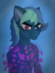 Size: 2400x3200 | Tagged: safe, artist:littlepony115, oc, oc:rainflicker, pegasus, pony, abstract background, blue coat, blue mane, bust, chest fluff, commission, ear fluff, equine, heterochromia, magic, male, shoulder fluff, solo, stallion, two toned mane, two toned wings, wings