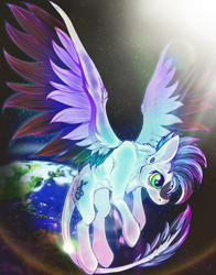 Size: 1154x1474 | Tagged: safe, artist:striker, oc, pegasus, pony, earth, lighting, space, stars