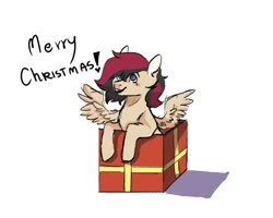 Size: 1000x800 | Tagged: artist needed, safe, oc, oc only, oc:porsche speedwings, pegasus, pony, blue eyes, box, christmas, colored sketch, gift box, holiday, looking up, merr chrismas, merry christmas, message, pegasus oc, pony in a box, shadow, simple background, smiling, solo, spread wings, tan coat, white background, wings, ych result