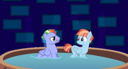 Size: 1337x728 | Tagged: safe, artist:dashiesparkle, artist:electrochoc, artist:zigrock, edit, vector edit, bow hothoof, windy whistles, accessory-less edit, female, hot tub, husband and wife, looking at each other, male, missing accessory, shipping, smiling, steam, straight, tub, vector, windyhoof