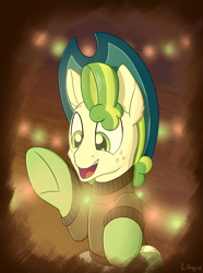 Size: 1850x2480 | Tagged: safe, artist:litrojia, pistachio, earth pony, pony, best gift ever, abstract background, christmas, clothes, hat, hearth's warming, holiday, led, lights, male, open mouth, raised hoof, raised leg, sitting, smiling, socks, solo, stallion, sweater