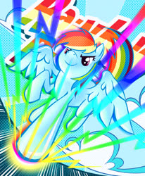 Size: 2477x3000 | Tagged: safe, artist:watery, rainbow dash, pegasus, pony, chromatic, cloud, cute, dashabetes, female, high res, mare, pixiv, rainbow, solo, spread wings, wings