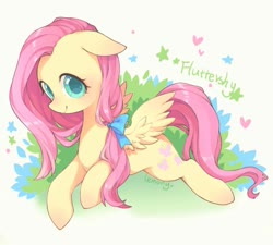 Size: 1000x900 | Tagged: safe, artist:llemonyyyy, fluttershy, pegasus, pony, bow, colored pupils, cute, female, floppy ears, hair bow, heart, looking at you, mare, name, pixiv, prone, shyabetes, simple background, smiling, solo, spread wings, stars, three quarter view, white background, wings