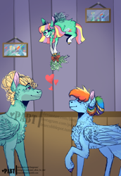 Size: 1024x1490 | Tagged: safe, artist:baegrease, rainbow dash, zephyr breeze, oc, oc:ice cloud, pegasus, pony, alternate hairstyle, cheek fluff, chest fluff, christmas, cloven hooves, cute, ear fluff, eyes closed, family photo, female, filly, hair bun, heart, holiday, leg fluff, male, mare, mistletoe, offspring, parent:rainbow dash, parent:zephyr breeze, parents:zephdash, shipper on deck, shipping, smiling, stallion, straight, zephdash