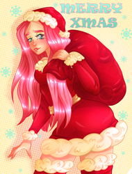 Size: 1900x2500 | Tagged: safe, artist:uselessfeles, fluttershy, human, christmas, clothes, costume, hat, holiday, humanized, santa costume, santa hat, solo
