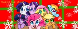 Size: 1920x720 | Tagged: safe, artist:colorfulcolor233, applejack, fluttershy, pinkie pie, rainbow dash, rarity, starlight glimmer, twilight sparkle, pony, alternate mane seven, box, christmas, colored pupils, cute, female, holiday, mane six, mare, open mouth, pixiv, pony in a box, smiling, snow, snowflake