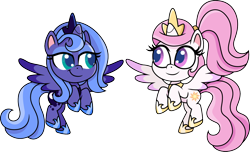 Size: 1500x914 | Tagged: safe, artist:cloudyglow, princess celestia, princess luna, alicorn, pony, my little pony: pony life, pony life, cewestia, crown, cute, cutelestia, duo, duo female, eyeshadow, female, filly, flying, foal, jewelry, lidded eyes, looking at each other, lunabetes, makeup, pink-mane celestia, raised hoof, regalia, s1 luna, scrunchie, simple background, smiling, transparent background, woona, young, younger