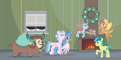 Size: 8000x4000 | Tagged: safe, artist:gd_inuk, gallus, ocellus, sandbar, silverstream, smolder, yona, changedling, changeling, classical hippogriff, dragon, earth pony, griffon, hippogriff, pony, yak, absurd resolution, bow, christmas, cloven hooves, colored hooves, cute, diaocelles, diastreamies, dragoness, eyes closed, female, fireplace, flying, gallabetes, grin, hair bow, happy, hearth's warming, holiday, hug, indoors, jewelry, male, monkey swings, necklace, one hoof raised, plushie, sandabetes, smiling, smolderbetes, snow, student six, teenager, window, winghug, wreath, yonadorable