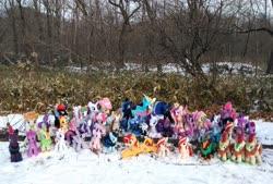 Size: 2080x1402 | Tagged: safe, artist:hihin1993, autumn blaze, blossomforth, cheerilee, cinder glow, coloratura, fluttershy, nurse redheart, princess cadance, princess celestia, princess luna, rarity, starlight glimmer, summer flare, sunset shimmer, tempest shadow, twilight sparkle, oc, oc:poniko, alicorn, kirin, nirik, alternate hairstyle, calendar of lunas, collection, commonity, irl, japan, multeity, photo, plushie, punk, raripunk, snow, triality, twilight sparkle (alicorn)