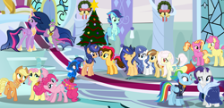 Size: 8192x3952 | Tagged: safe, artist:galaxyswirlsyt, applejack, fluttershy, li'l cheese, luster dawn, pinkie pie, rainbow dash, rarity, spike, twilight sparkle, oc, oc:apple pie, oc:destiny, oc:galaxy swirls, oc:party pie, oc:rainbow blitzes, oc:sky city, oc:velvet sentry, alicorn, earth pony, hybrid, pegasus, pony, unicorn, the last problem, absurd resolution, base used, christmas, christmas tree, holiday, interspecies offspring, mane seven, mane six, offspring, older, older applejack, older fluttershy, older li'l cheese, older mane seven, older mane six, older pinkie pie, older rainbow dash, older rarity, older spike, older twilight, parent:applejack, parent:caramel, parent:cheese sandwich, parent:discord, parent:fancypants, parent:flash sentry, parent:fluttershy, parent:pinkie pie, parent:rainbow dash, parent:rarity, parent:soarin', parent:twilight sparkle, parents:carajack, parents:cheesepie, parents:discoshy, parents:flashlight, parents:raripants, parents:soarindash, princess twilight 2.0, throne room, tree, twilight sparkle (alicorn)
