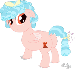 Size: 2023x1880   Tagged: safe, artist:poniidesu, cozy glow, pegasus, pony, the ending of the end, a better ending for cozy, bow, butt, colored, cozy glutes, dock, female, filly, flat colors, foal, freckles, hair bow, looking at you, looking back, looking back at you, one hoof raised, petrification, plot, reversal, simple background, smiling, solo, standing, tail bow, transparent background