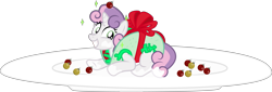 Size: 8802x3000   Tagged: safe, artist:sollace, sweetie belle, pony, unicorn, bow, christmas, female, filly, foal, food, holiday, icing sugar, looking at you, ornaments, plate, pun, simple background, smiling, solo, taco, taco belle, transparent background, vector