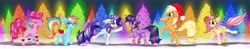 Size: 12731x2498   Tagged: safe, artist:rurihal, applejack, fluttershy, pinkie pie, rainbow dash, rarity, twilight sparkle, alicorn, antlers, bell, bell collar, chest fluff, christmas, collar, floppy ears, hat, holiday, leg warmers, mane six, reindeer antlers, santa hat, tree, twilight sparkle (alicorn), wing warmers